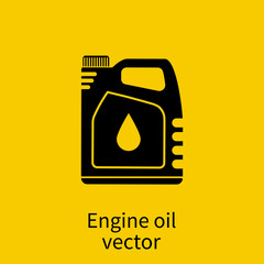 Engine oil. Icon cans of engine oil. Silhouette icon.