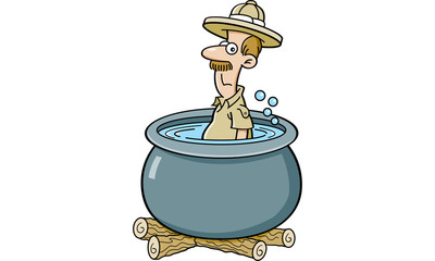 Cartoon illustration of an explorer in a cooking pot.