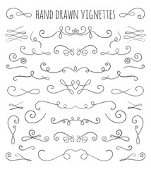 Set of hand drawn vignettes in retro style.