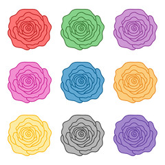 Set of roses of different colors