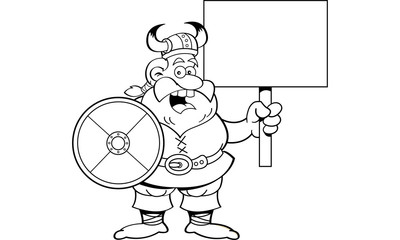 Black and white illustration of a viking holding a shield and a sign.