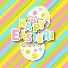 Happy Easter Greeting Card with Cartoon Egg.