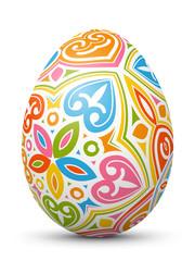 3D Vektor Osterei - Abstrakt verziert und mit fröhlichen Farben bemalt. Colorful Easter Egg with Abstract Pattern Isolated on White Background.
