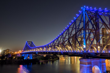 The Story Bridge crossing the Brisbane River in the Queensland city of Brisbane