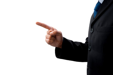 Isolated businessman pointing to his success