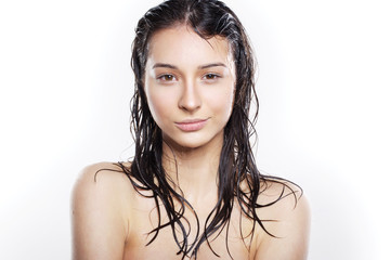 beautiful girl with wet hair after shower