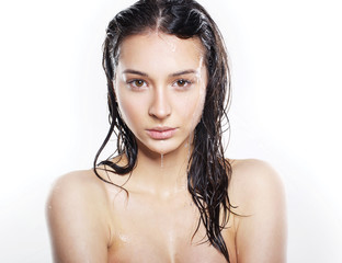 sweet girl with wet hair