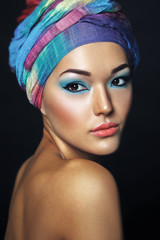 Beautiful asian woman with turban or hijab. Etnic beauty portrai
