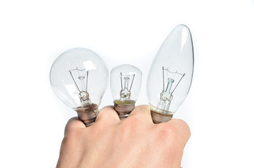 Light bulb in his hands