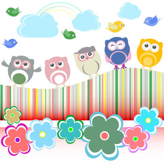 owls, birds and flowers - holiday card vector background
