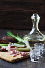 salty bacon appetizer Russian vodka