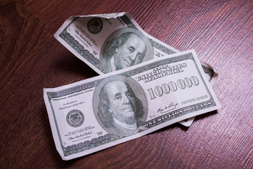 bill of one million dollars, a new brilliant idea, a million dollars, the thirst for wealth, success, get rich millionaire, background of the money, very rare banknote
