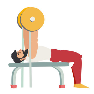 Bench press exercise. Bearded man with muscles coach in the gym. Isolated vector illustration on white background.