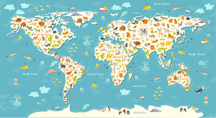 Animals world map. Beautiful cheerful colorful vector illustration for children and kids. With the inscription of the oceans and continents. Preschool, baby, continents, oceans, drawn, Earth