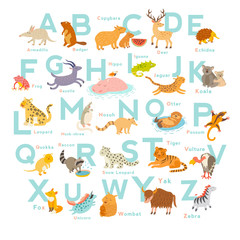 Cute vector zoo alphabet. Funny cartoon animals. Vector Illustration EPS10 isolated on white background. Letters. Learn to read