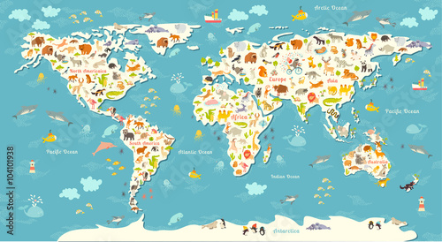 Animals World Map Beautiful Cheerful Colorful Vector Illustration - Continents map for kids