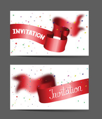 Invitation cards with red ribbon and confetti