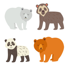 Polar bear, spectacled bear, panda and brown bear set. Flat cartoon vector illustration, isolate on white  background