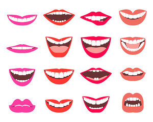 Funny smiles vector set.