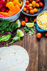 Authentic mexican tortillas ingredients on table