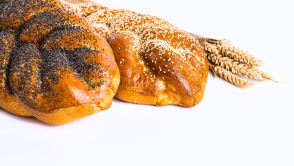 Two whole fresh challah bread with poppy and sesame seeds on a w