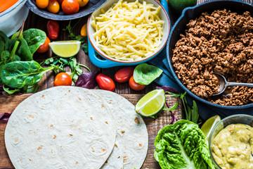 Traditional mexican tortillas or fajita recipe.