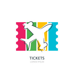 Flight airplane silhouette and colorful striped ticket on background. Vector flat logo design template. Boarding pass icon. Travel agency, sale tickets concept.