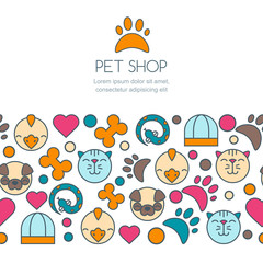 Vector seamless horizontal background with flat icons of cat, bird, snake and dog. Banner or flyer design template with copyspace. Trendy concept for pet shop, pets care and grooming, veterinary.