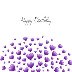 Vector Illustration of a Happy Birthday Greeting Card with Purple Heart Balloons