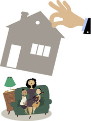 Family losing a home, Mother with two children sitting on a couch while a giant hand taking away their house, EPS 8 vector illustration