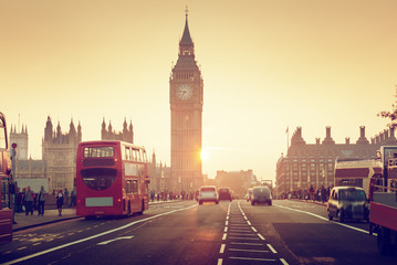Westminster Bridge at sunset, London, UK Wall mural
