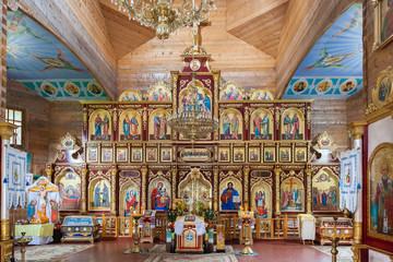 nterior of Orthodox Christian church near Manyavsky monastery, Ivano-Frankivsk region, Ukraine