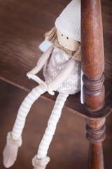 nostalgic decoration angel on book shelf still life vintage style