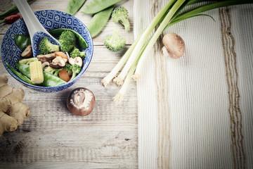 Asian stir-fried vegetables. Food background