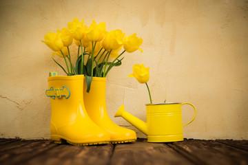 Obraz Kalosze, konewka i wiosenne kwiaty - fototapety do salonu