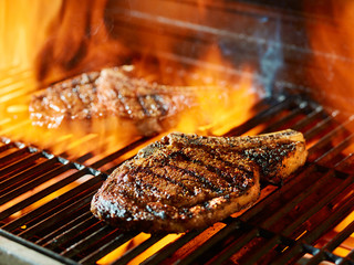 Aluminium Prints Grill / Barbecue ribeye steak barbecue on the grill