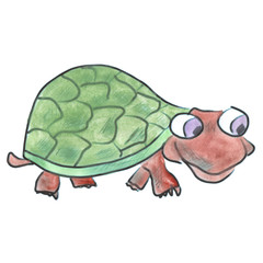 green turtle cartoon watercolor isolated