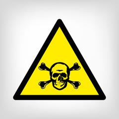 Danger yellow symbol vector skull