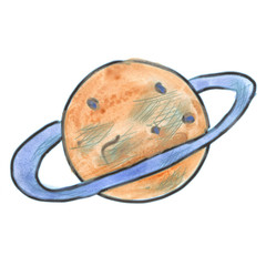 brown planet with an orbit cartoon watercolor isolated