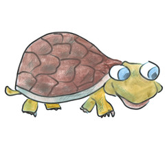 brown watercolor cartoon turtle isolated