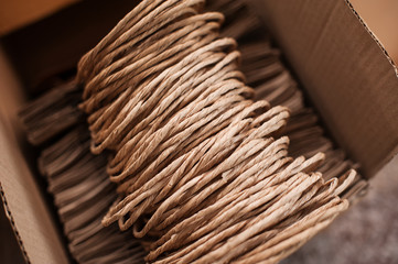 Brown kraft paper bags for gifts on background