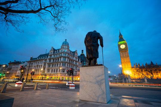 Big Ben and statue of Sir Winston Churchill, London, England