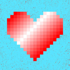Red gradient heart on blue background