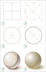 Page shows how to learn step by step to draw a ball. Developing children skills for drawing and coloring. Vector image.
