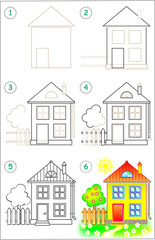 Page shows how to learn step by step to draw a house. Developing children skills for drawing and coloring. Vector image.