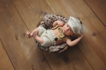Newborn Baby Boy Wearing a Little Man Suit
