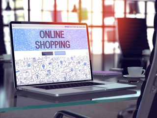 Online Shopping Concept. Closeup Landing Page on Laptop Screen in Doodle Design Style. On Background of Comfortable Working Place in Modern Office. Blurred, Toned Image. 3D Render.