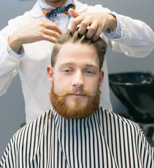 Hairdresser combing and cutting hair