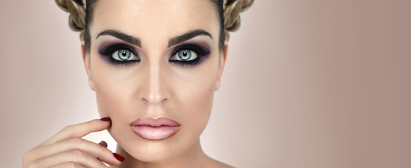 Makeup sophisticated background silver peony