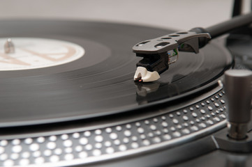 record on a turntable
